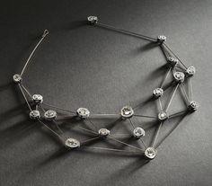 SANDRA ENTERLINE  Necklace, Diamond Web Necklace, 2011  Sterling silver, 18k palladium white gold, 10k white gold, diamond slices  http://crafthaus.ning.com/group/velvetdavinci?groupUrl=velvetdavinci=2104389%3AGroup%3A89601=2#comments