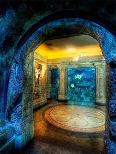Aqua Marble room; would be awesome with a hot tub in it!
