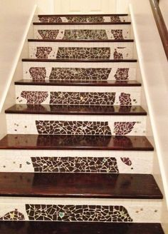 nasty carpeted stairs go to mosaic garden path magic , stairs Flat Marbles, Mother Daughter Projects, Basement Stairs, Wood Stairs, Basement Ideas, Mosaic Diy, Mosaic Ideas, Basement Renovations, Stone Mosaic