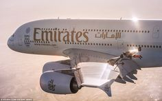 Rossy and Reffet wingsuit pilots flying alongside Emirates A380 above Dubai   Daily Mail Online