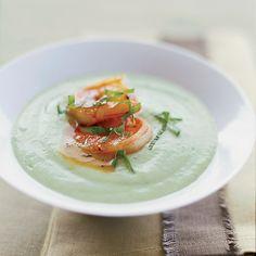Chilled Cucumber-Avocado Soup with Spicy Glazed Shrimp | Douglas Keane is such a fan of chilled soups that he puts at least one on his menu every season including winter. The combination of cucumber and red wine vinegar in this recipe reminds him of the wonderful Greek salads he had growing up outside of Detroit, Michigan, home to a huge Greek community.