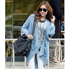Women's Leisure Loose The Double Pocket No Volume Studs Sky Blue Sweater Cardigan