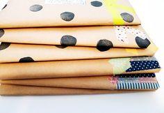 Polka dots, washi tape, and kraft paper Paper Packaging, Pretty Packaging, Brand Packaging, Gift Packaging, Washi Tape, Masking Tape, Diy Paper, Paper Crafts, Diy Crafts