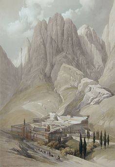 David Roberts - Convent of St. Catherine with Mount Horeb, 1839 Sacred Architecture, Historical Architecture, Church Architecture, Ancient Egypt, Ancient History, Mount Sinai Egypt, Saint Catherine's Monastery, Fantasy Places, Catholic Art