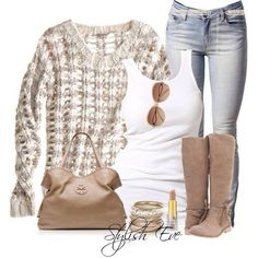 Jeans with beige sweater