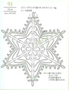 from Crochet laceworkQuite big snowflake Crochet Snowflake Pattern, Crochet Stars, Christmas Crochet Patterns, Crochet Snowflakes, Crochet Mandala, Doily Patterns, Thread Crochet, Crochet Motif, Crochet Designs
