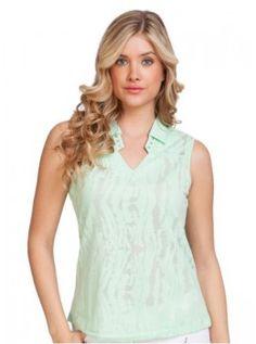 Jamie Sadock Angelic  Basic Women's Solid Sleeveless Shirt with Pockets -Angelic Mint Julep