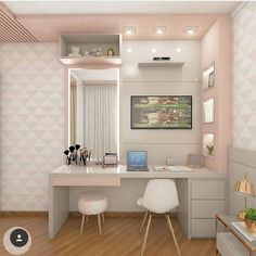 40 + modern and dreamy dorm & bedroom design ideas for you – Page 44 of 44 Room Design Bedroom, Home Room Design, Girl Bedroom Designs, Room Ideas Bedroom, Small Room Bedroom, Bedroom Layouts, Bedroom Decor, Girls Bedroom, Dorm Design
