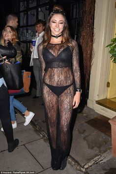 Ace in lace: Former TOWIE star Pascal Craymer flashed her underwear under a sheer lace dress when she attended an app launch at Bumpkin's restaurant in London on Thursday