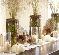 green mantel decoration for thanksgiving ideas pumpkin candles