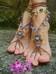 HULA HOOPING BAREFOOT sandals mustard yellow brown belly by GPyoga