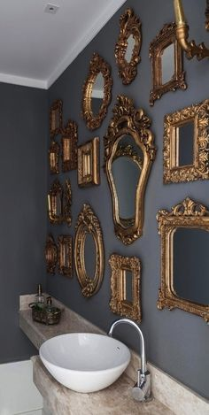 Instead of one large framed mirror over a sink - how about a collection of smaller custom framed mirrors, hung gallery style? A mixture of old and newly custom framed pieces will create a designer look, that appears to be collected over time. Custom Framed Mirrors, Vintage Mirrors, Wall Mirrors, Bathroom Vintage, Framed Wall, Wall Art, Bathroom Colors Blue, Deco Baroque, Mirror Gallery Wall