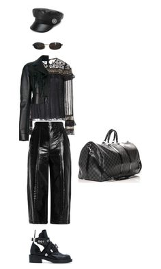 """""""vintage leather"""" by vnae18 on Polyvore featuring Dodo Bar Or, MSGM, Off-White, Balenciaga, Louis Vuitton, Tom Ford and vintage"""