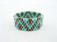 Brun et Turquoise bague Peyote perlés bande par MadeByKatarina, $13.00