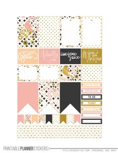 Golden Birds Printable Happy Planner Stickers 2 pages Silhouette Ready - FREE