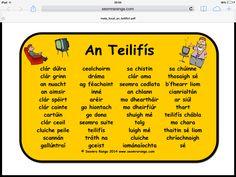 Mata Focal An Teilifís Primary Teaching, Teaching Aids, Primary School, Irish Gaelic Language, Gaelic Words, Irish Memes, 5th Class, Scottish Gaelic, School Resources