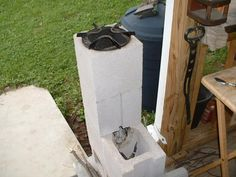 From Wes Duncan, the High Tech Redneck, a rocket stove made out of cinder blocks. I've built one of these too and can confirm that they work great. And you can't beat the price. Time for some redneck cookin'! Update: As several readers have pointed out, this design ain't safe.