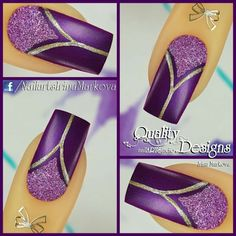 Attend The Very Best Internet Graphic Layout Lessons - Nail Art Purple Nail Art, Purple Nail Designs, Colorful Nail Art, Glitter Nail Art, Gel Nail Art, Easy Nail Art, Cool Nail Designs, Gel Nails, Fancy Nails