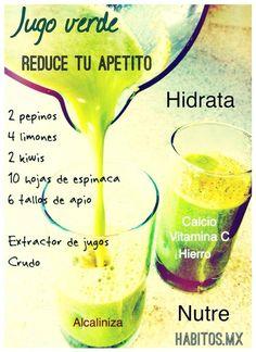 Jugo verde SACIANTE: pepinos, limones, kiwis, espinacas y ajos