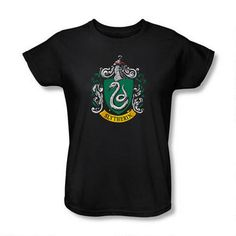 Add this Harry Potter Slytherin crest t-shirt to your wardrobe!  This stylish, 100% cotton black t-shirt features the official Slytherin house crest on the front.  Available in women's sizes.<BR><BR><B>Please note:</B> Unlike our women's fitted t-shirts, this women's relaxed fit t-shirt runs true to size.
