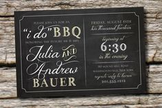 50 PRINTED WITH ENVELOPES I do bbq Blackboard Chalkboard Engagment Party, Couples Shower, Rehearsal Dinner Invitation