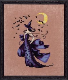 Nora Corbett Raven - Cross Stitch Pattern. Model stitched on 32 Ct. Milk Chocolate linen with DMC floss and Mill Hill Beads. Stitch Count: 110x146