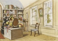 John Strickland Goodall - The Milliner's Shop art John Strickland, Wordless Picture Books, Shop Art, He's Beautiful, Book Illustrations, Kiss, Children, Pictures, Painting