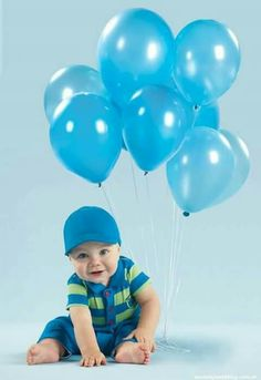 Little Baby Boy And Blue Balloons!!