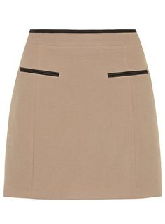 Camel leather look piped mini - Skirts  - Clothing
