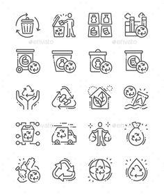 Buy Recycling Line Icons by PalauDesign on GraphicRiver. UI Pixel Perfect Well-crafted Vector Thin Line Icons Grid for Web Graphics and Apps with Editable Str. Icon Design, Logo Design, Design Art, Plastic Shop, Plant Icon, Nature Vector, Simple Icon, Best Icons, Sketch Notes