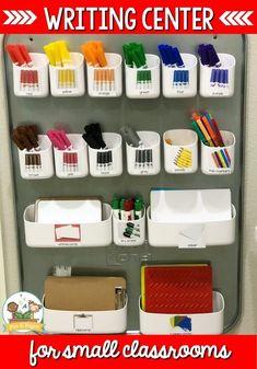 Writing Center Writing Center Kindergarten, Kindergarten Classroom Setup, New Classroom, Pre Kindergarten, Year 3 Classroom Ideas, Head Start Classroom, Classroom Pictures, Toddler Classroom, Kindergarten Graduation