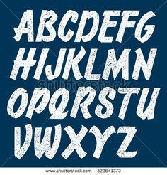 Handmade script font. Stamped vector letters.