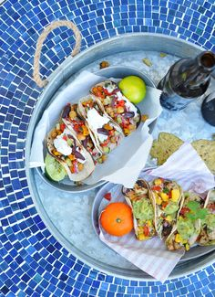 Street Tacos 2 Ways: Roasted Butternut Squash and Chickpea Greek Tacos ... plus... Citrus Herb Fish Tacos! // via Nosh and Nourish