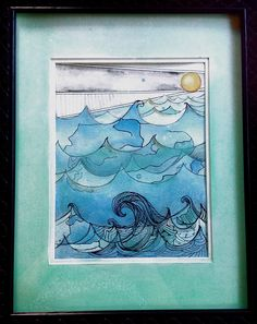 art by gloria e. Ocean. Sea. waves. water color. cool colors. blues greens. pen.