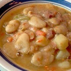Lima s are one of my favorite beans Might be because my Gram would always make a big pot with ham and she always served them with yummy fried potatoes in an iron skillet this is one of my favorite things to eat on a cold winters eve Lima Beans And Ham, Lima Beans In Crockpot, Lima Bean Soup, Bean Soup Recipes, Lima Bean Recipes, Beans Recipes, Chili Recipes, Drink Recipes, Gastronomia