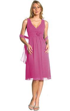 A-line Fuchsia V-neck Knee-length Dress Online Sale