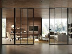 New sliding glass door design Ideas Interior Architecture, Interior And Exterior, Interior Design, Sliding Glass Door, Sliding Doors, Glass Doors, Glass Partition, Modern Glass, Internal Doors