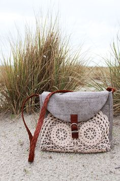 FINCH small boho messenger bag, leather plait strap and appliqued doily