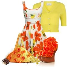 shoes and purse a bit over the top but love dress cardigan combo!:)