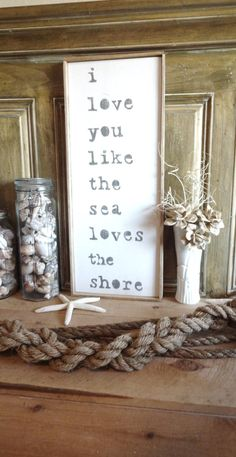 Meet Me Bye The Sea I love you like the sea loves the shore Wooden Beach Sign