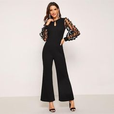 SHEIN offers Applique Sheer Sleeve Keyhole Front Jumpsuit & more to fit your fashionable needs. Mode Abaya, Mode Hijab, Jumpsuit With Sleeves, Black Jumpsuit, Sequin Jumpsuit, Rompers Women, Jumpsuits For Women, Long Romper, Fashion Clothes