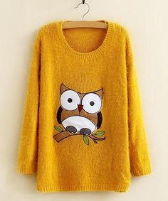 Cute Round Neck Owl Pattern Mohair Long Sleeve Sweater For Women