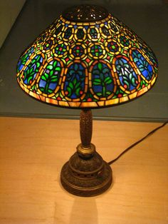 """Tiffany Studios """"Venetian"""" desk lamp ca. 1910-1920 Overall: 19 1/4 x 13 in. ( 48.9 x 33 cm ) Gilt bronze, glass Gift of Dr. Egon Neustadt New-York Historical Society N84.28"""