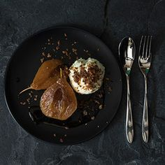 A combination made in heaven. Sweet Van der Hum flavoured pears served with not-too-sweet Lemon and Yoghurt Ice Cream topped with crisp praline flavoured with cinnamon. Brown Bread, Ice Cream Toppings, Fruit Recipes, Pears, Allrecipes, Crisp, Cinnamon, Lemon, Heaven