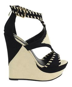 This Athena Footwear Black Greece Wedge Sandal by Athena Footwear is perfect! #zulilyfinds
