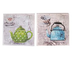 Stampa assortita in canvas Tea verde/celeste, 40x40x3 cm