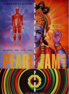 Pearl Jam 1995 by Rex Ray • Pearl Jam - Golden gate park 1995.    28 x 20 inch.  Rare & original BGP concert poster on heavy stock card.   £90.00 http://www.thefloodgallery.com/collections/latest-arrivals/products/pearl-jam-1995