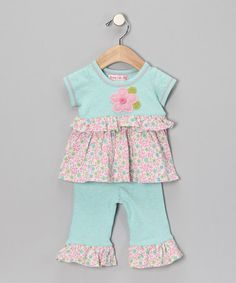 Take a look at this Blue Flower Tunic & Pants - Toddler by Baby Lulu & Pepper Toes on #zulily today!