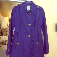 Blue lined coat with ADORABLE button detailing!! Blue lined coat with ADORABLE button detailing!! Size: XS! only worn a handful of times!! In PERFECT condition and freshly dry cleaned!! You will fall in LOVE with this coat!! SO cute!! Tulle Jackets & Coats Pea Coats