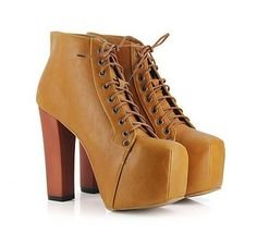 Free shipping Vogue Girls Ladies four Colour Lita platforms excessive heels Lace Up boots Ankle footwear size 35-40